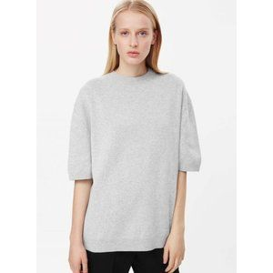 COS Button-Back Knit Top Short Sleeve Cotton